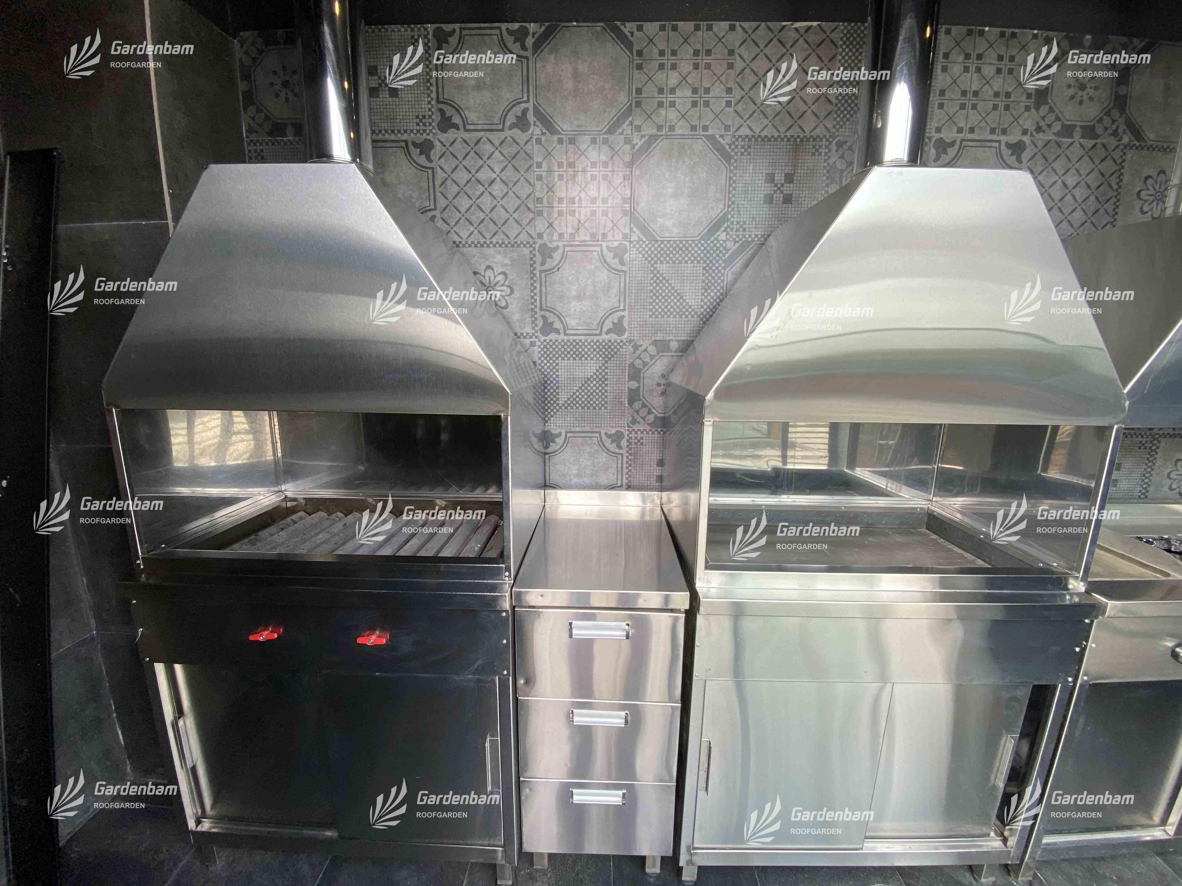 روف گاردن  بام سبز گاردن بام آشپزخانه صنعتی پروژه سعادت آباد گاردن بام 