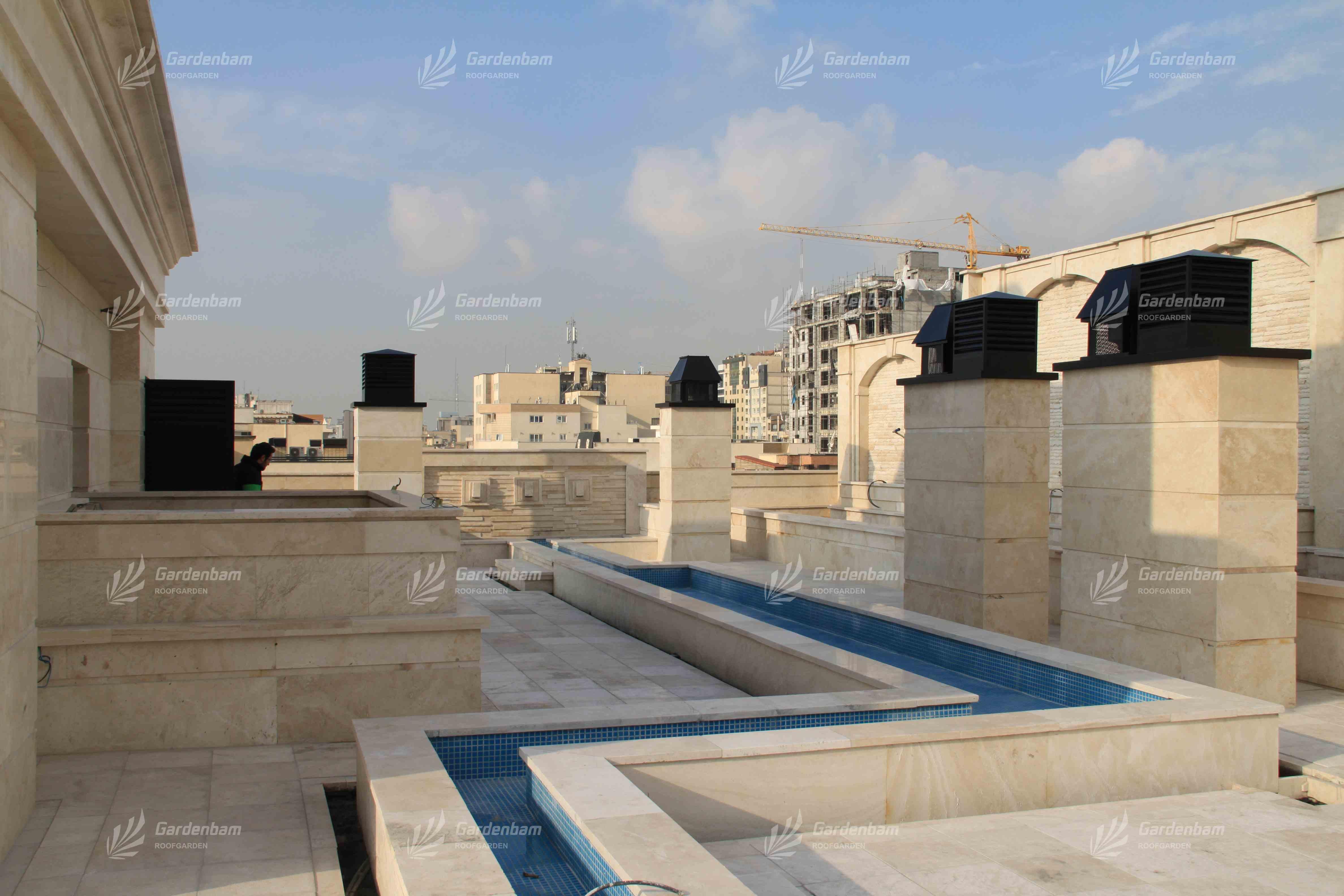 طراحی و اجرای آبنما و روف گاردن شرکت گاردن بام-سعادت آباد