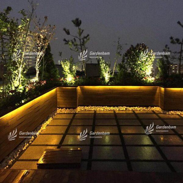 ایده برای ایجاد روف گاردن | نورپردازی روف گاردن | اجرای نورپردازی در روفگاردن| طراحی و اجرای بام سبز | گاردن بام